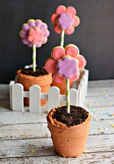 Flower Pot Cookie Cakes