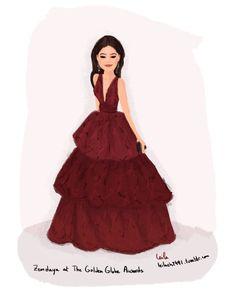Zendaya at The Golden Globe Awards 2016 #zendaya #goldenglobe2016 #dress #illustration #tumblr #fashion #style #fashionista #marchesa #beautiful #red #gown #celebraty #2016 #drawing #art