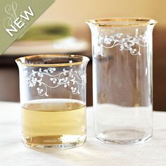 Southern Living Set of 4 Gold Trim Glassware  I  ballarddesigns.com