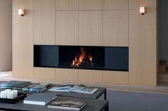 Contemporary wood panel fireplace surround //Universal - Metalfire