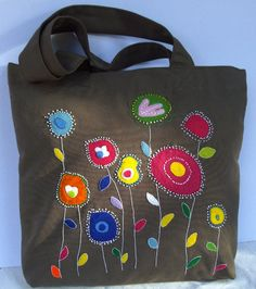 Canvas chocolate brown tote bag/shopper/carry all/ handmade/colorful/ abstract flowers/unique Hand Applique, Applique Patterns, Applique Designs, Sacs Tote Bags, Canvas Tote Bags, Crochet Shoulder Bags, Tote Bags Handmade, Denim Bag, Fabric Bags