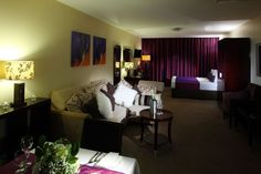 Bridal Suite at Gallaghers Hotel Letterkenny Contemporary Wedding Venues, Hotel Breaks, Bridal Suite, Beautiful Hotels, How To Make Bed, Dream Rooms, Couch, Curtains, Furniture