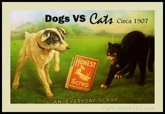 dogs vs cats-vintage-art-LOL