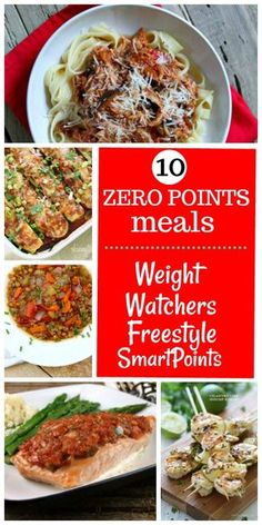 10 Meals that are Zero Weight Watchers Freestyle Points: Slow Cooker Chicken Cacciatore, Easy Lentil Soup, Salsa Roasted Salmon, Crockpot Chicken Taco Chili and more!