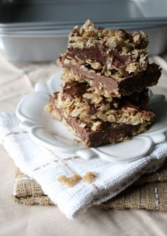 No-Bake Chocolate & Peanut Butter Oatmeal  Bars- I would substitute Earth Balance for the butter, and eat the hell out of these delicious looking bars