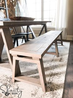 DIY Fancy V Dining Bench - Shanty 2 Chic Start building amazing sheds the easier way with a collection of shed plans! Wooden Dining Bench, Kitchen Table Bench, Dining Table With Bench, Dining Room Table, Diy Wood Bench, Dining Rooms, Diy Furniture Projects, Pallet Furniture, Furniture Design