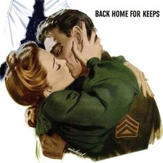 Back Home for Keeps ~ Romantic WWII themed Community Silverplate ad, 1944