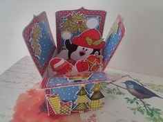 3D Xmas Snowballing Pip Penguin Rubber Band Pop Up Box Card - Photo by jos cal