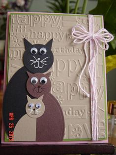 A Zindorf Case by Redbugdriver - Cards and Paper Crafts at Splitcoaststampers - Geprägte karten Handmade Birthday Cards, Happy Birthday Cards, Greeting Cards Handmade, Diy Birthday, Birthday Design, Cat Cards, Kids Cards, Tarjetas Diy, Punch Art Cards