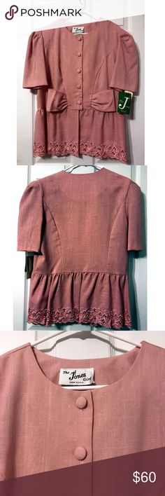 "Vintage The Jones Girl Short Sleeves Peplum Jacket Vintage The Jones Girl Short Sleeve Peplum Jacket  Condition: NWT Approximate Measurements:  Size 16 Width-20.5"" Length-27.5"" Vintage Jackets & Coats"