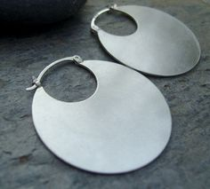 Disc Hoops. Earrings.