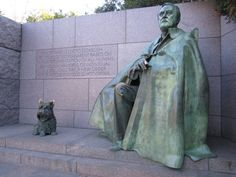 FDR Memorial in Washington, DC...tells the 12 year story of Roosevelt's terms in office.  His dog, Fala, is part of the memorial built in 1997.