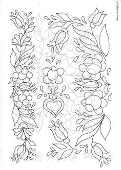 pattern for Bauernmalerei Hungarian Embroidery, Folk Embroidery, Hand Embroidery Patterns, Applique Patterns, Floral Embroidery, Beaded Embroidery, Embroidery Designs, Tole Painting, Fabric Painting