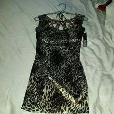 FLASH SALE Gorgeous Cheetah print dress BRAND NEW Beautiful classy cheetah print dress with gold studs around the neck area. Lower cut back with zipper and halter style tie around the neck. Fits anywhere from size 0-2! MAKE ME AN OFFER!!!  XOXO Dresses