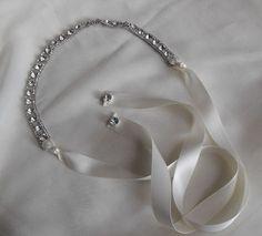 Rhinestone Headband Ribbon Headband Beautiful by yanethandco, $36.00
