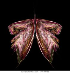 Abstract colored fractal butterfly on black, 3d illustration at my Shutterstock portfolio #abstract #fractal #butterfly #background #3dillustration #fractalart @shutterstock