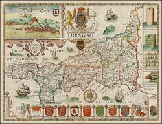 Map of Cornwall by John Speed, 1676.