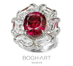 BOGH-ART ring with an oval Burmese ruby and diamonds, no indication of heat treatment