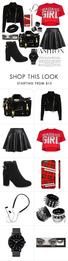 """Untitled #32"" by ajladelicc ❤ liked on Polyvore featuring Moschino, Polaroid and Huda Beauty"