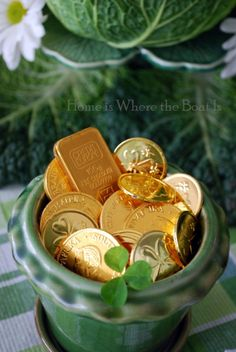 Gold Chocolate Coins in a green pot... party favor, placecard holder, placesetting decor.