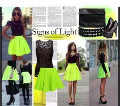 """light neon"" by kiera-van-witte ❤ liked on Polyvore"