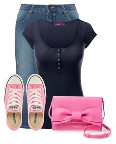 """Untitled #16051"" by nanette-253 ❤ liked on Polyvore featuring Studio, Converse and Kate Spade"