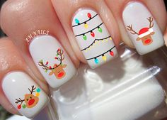 Reindeer nail decals, very pretty, bright stickers with unique designs. Reindeer nail stickers made on high quality decal paper. These decals can be applied to any type of nails (regular polish, soak off gel, hard gel and acrylic). Xmas Nail Art, Christmas Gel Nails, Christmas Nail Art Designs, Holiday Nails, Easy Christmas Nail Art, Christmas Nail Stickers, White Christmas, Christmas Decor, Christmas Ideas