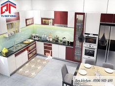 tủ bếp gỗ chữ L đẹp kc193