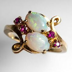 Australian Opal Ring w/ Ruby Accents Textured 14K Gold