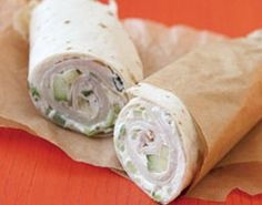 Stir cucumber into Laughing Cow cheese, spread on tortillas, layer with turkey slices, and roll up…perfect lunch from Rachel Ray.