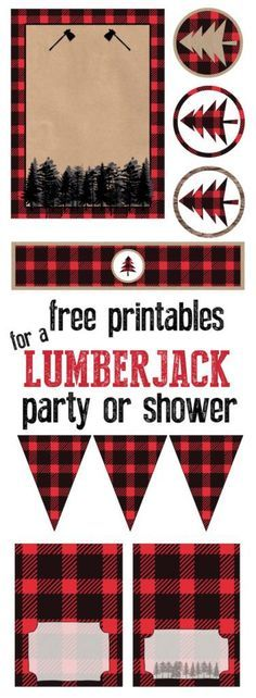 Saving for lil mans first birthday. Lumberjack party or baby shower free printables. Throw a great lumberjack themed party and let us do all of the work. Free Baby Shower Printables, Baby Shower Themes, Baby Boy Shower, Free Printables, Party Printables, Shower Ideas, Baby Showers, Easter Printables, Bridal Showers