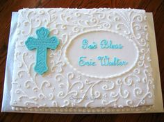 "Scrollwork Communion - 12x16"" decorated in buttercream with chocolate cross. Cross mold was purchased from Global Sugar Art (I had first seen it used on a cake by Merissa and fell in love with it - it's expensive, but I think I'll get a lot of use out of it.) TFL!"