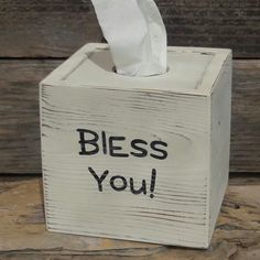 "Check out our new ""Bless You"" tissue box!"