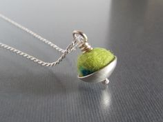 Felted Wool and Sterling Silver Essential Oil Necklace - Aromatherapy - Small Felt Pendant - Colorful Necklace - Made to Order on Etsy, $35.75