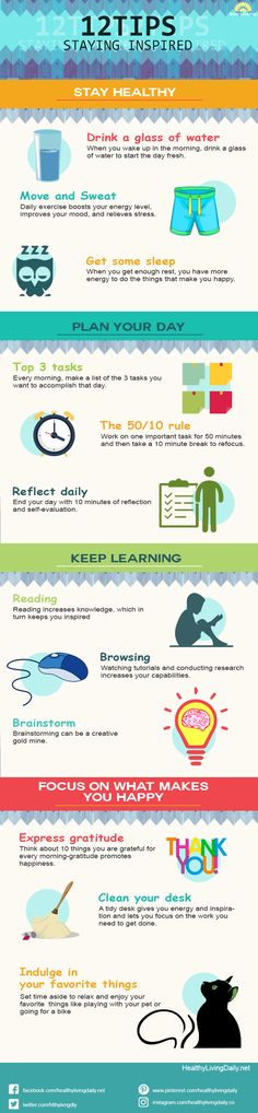 The idea of staying inspired is to find something that you enjoy and which will encourage you to remain inspired. Check out this infographic to learn the tips of staying inspired. 😊🥰😎👍  #12tipsstayinginspired #tipsstayinginspired #stayinginspired #stayinspired #stayhealthy #planyourday #keeplearning #focusonwhatmakesyouhappy #staymotivated #behappy #setgoals #focused #happiness #healthylivingdaily #followme #follow