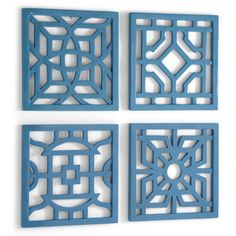 Set of Four Geometric Wall Tiles