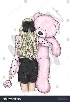 Beautiful Girl Drawing, Cute Girl Drawing, Cartoon Girl Drawing, Unicornios Wallpaper, Cute Girl Wallpaper, Cartoon Girl Images, Cute Cartoon Girl, Kitty Drawing, Teddy Bear Cartoon