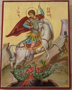 Religious Icons, Religious Art, Patron Saint Of England, Saint George And The Dragon, Catholic Crafts, Religion Catolica, Biblical Art, Byzantine Icons, Orthodox Icons