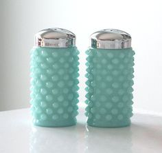 Fenton Turquoise Hobnail Salt and Pepper Shakers - love hobnail!!