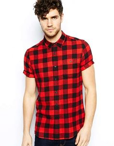 ASOS | hirt In Short Sleeve With Buffalo Plaid #asos #plaid #shirt