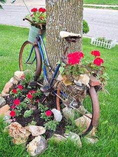 Beautiful old garden bike with flowers in front and back baskets