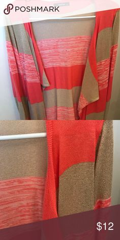 Gold and coral sweater Metallic gold and coral striped boutique sweater. Great condition, smoke free home Sweaters