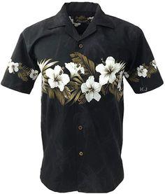 a54e9b467 Favant Tropical Luau Beach Hibiscus Band Floral Print Men's Hawaiian Aloha  Shirt (XX-Large, Black)