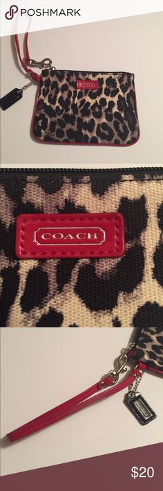 NWOT Coach Wristlet BRAND NEW! Awesome animal print! Canvas and leather. Adorable red trim on the black, gray, cream bag! SUPER CUTE! Sorry, I must be FIRM in price. I've low-balled myself already. 😂😁👏🏻👏🏻 Coach Bags Clutches & Wristlets