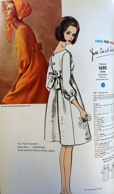 Yves Saint Laurent mid designer couture vintage fashion style white cocktail dress empire waist short knee length casual wedding evening wear from the pages of Vogue Patterns catalogs. Moda Vintage, Vintage Mode, 1960s Fashion, Trendy Fashion, Vintage Fashion, Fashion Sewing, Fashion 2020, Fashion Fashion, Fashion Ideas