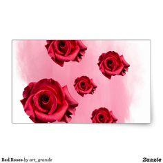 Red Roses Rectangular Sticker