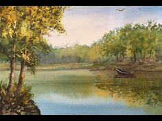 Урок3- АКВАРЕЛЬ. Берег реки, деревья,отражения. №3-River in watercolor. ...