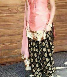 Buy Pink embroidered Cotton semi stitched salwar with dupatta party-wear-salwar-kameez online