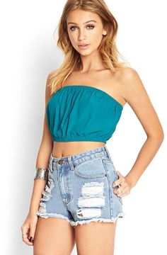 Forever 21 Crepe Woven Crop Top
