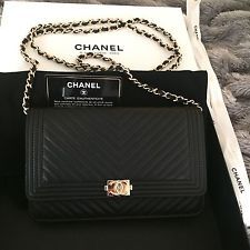 NEW 2016 CHANEL Boy WOC Wallet on Chain Black Chevron Leather GHW -very rare-